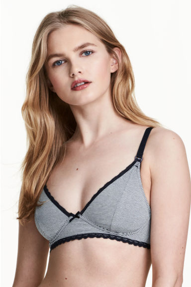 MAMA 2-pack nursing bras - Dark blue/Narrow striped - Ladies | H&M 1
