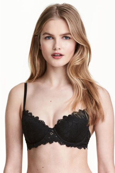 Padded underwired lace bra - Black - Ladies | H&M CN 1