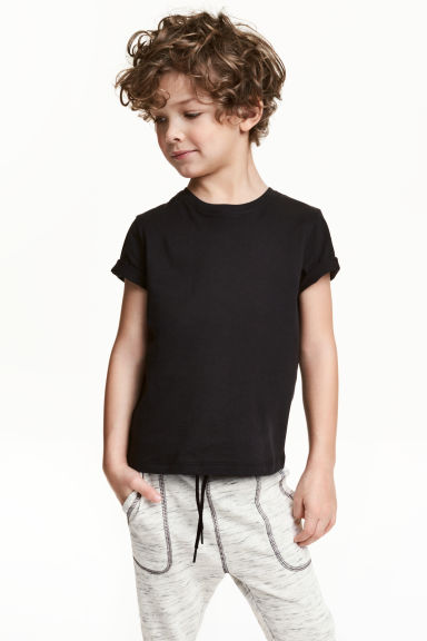 Cotton T-shirt - Black -  | H&M CN 1