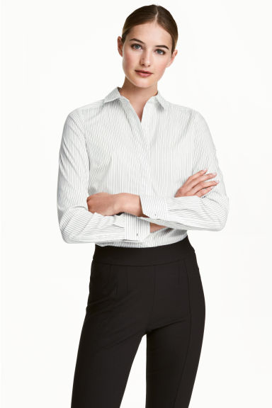 Stretch shirt - White/Striped -  | H&M 1