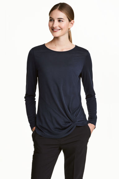 Top in jersey maniche lunghe - Blu scuro - DONNA | H&M IT 1