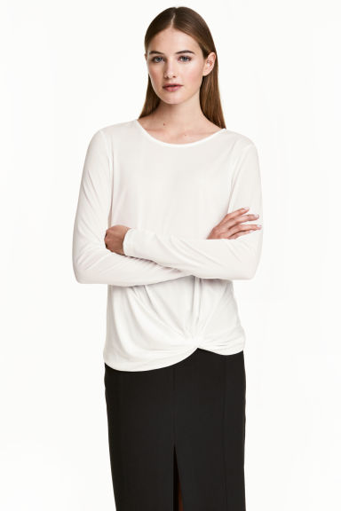 Long-sleeved jersey top - Natural white - Ladies | H&M 1