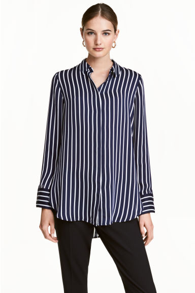 Long-sleeved blouse - Dark blue/Striped -  | H&M