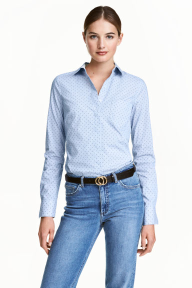 Stretch shirt - Blue/Spotted - Ladies | H&M CN 1