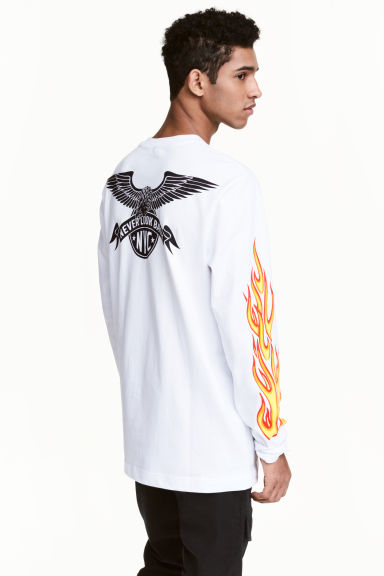 Printed long-sleeved T-shirt - White/New York - Men | H&M CN 1