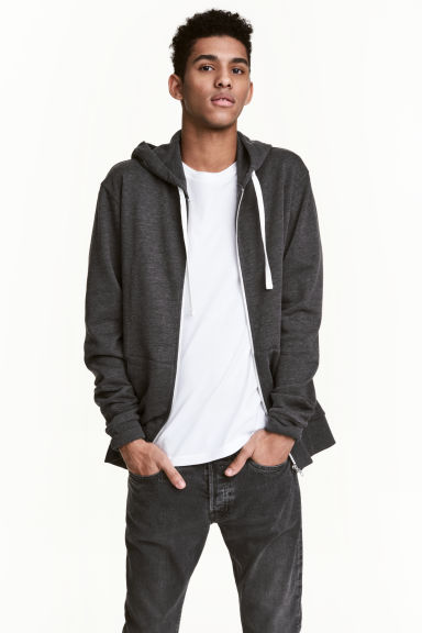 Hooded jacket - Anthracite/Grey marl -  | H&M CN 1
