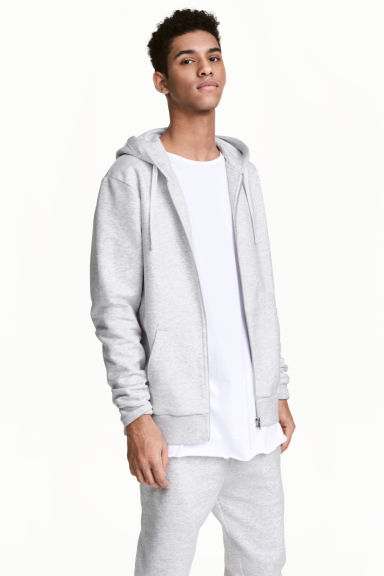 Hooded jacket - Light grey marl - Men | H&M 1