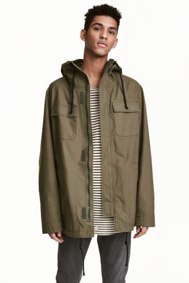 Parka with a hood - Khaki green - Men | H&M CN 1