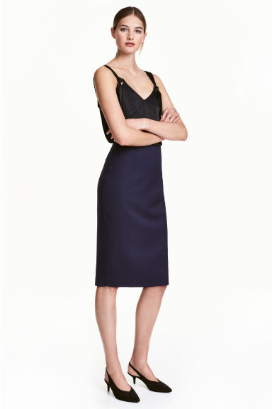 Pencil skirt - Dark blue/Patterned -  | H&M CN