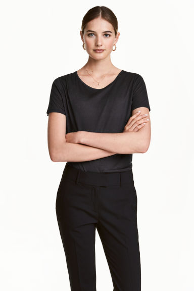Lyocell top - Dark grey - Ladies | H&M 1