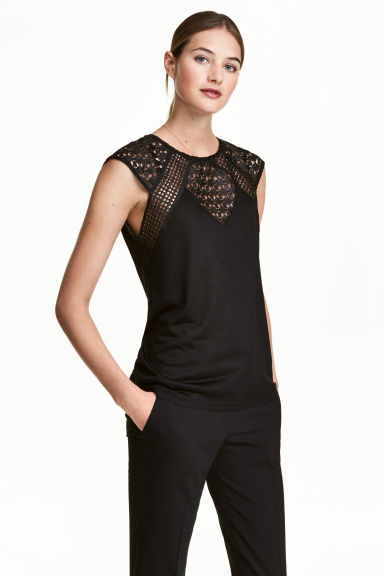 Top with lace - Black - Ladies | H&M 1
