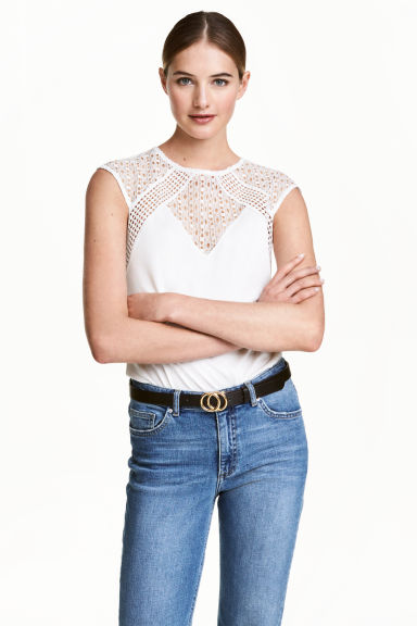 Top with lace - White -  | H&M
