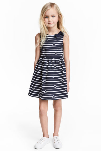 Patterned cotton dress - Dark blue/Striped -  | H&M 1