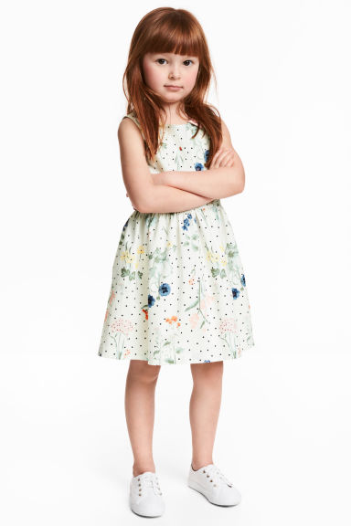 印花棉質洋裝 - Natural white/Floral - Kids | H&M 1