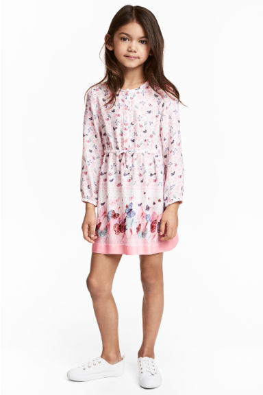 Patterned dress - Natural white/Pink - Kids | H&M