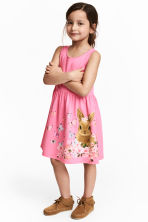 Patterned jersey dress - Pink/Rabbit -  | H&M 1