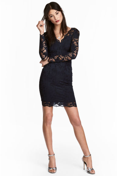 Lace dress - Dark blue - Ladies | H&M CN 1