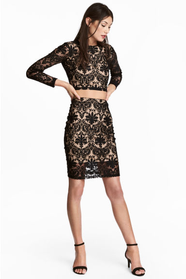 Patterned mesh skirt - Black - Ladies | H&M CN 1