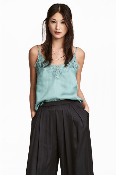 Satin strappy top with lace - Dusky green - Ladies | H&M 1