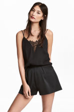 Strappy top with lace - Black - Ladies | H&M CA 1
