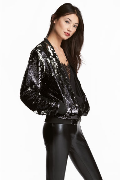 Sequined jacket - Silver/Black -  | H&M 1
