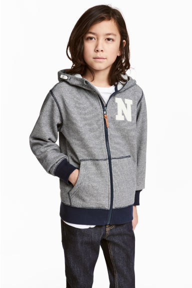 Marled hooded jacket - Dark blue/Narrow striped - Kids | H&M 1