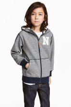 Marled hooded jacket - Dark blue/Narrow striped - Kids | H&M CN 1