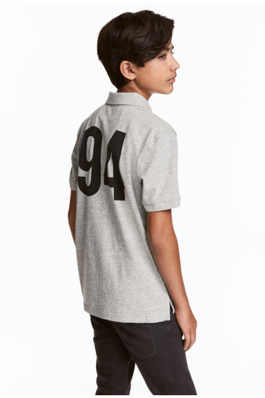 Jersey polo shirt - Grey marl -  | H&M CN 1