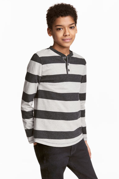 Henley shirt - Dark grey/Striped -  | H&M CN 1