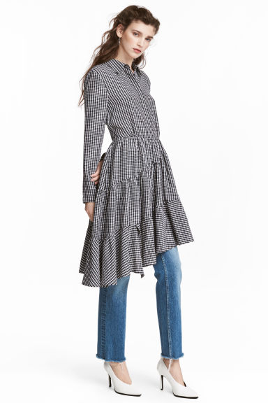Asymmetric dress - Black/White/Checked - Ladies | H&M GB 1