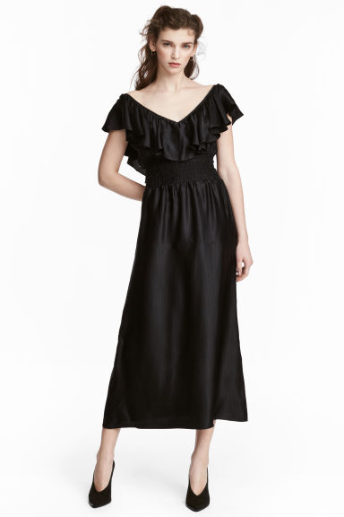 Long flounced dress - Black -  | H&M 1