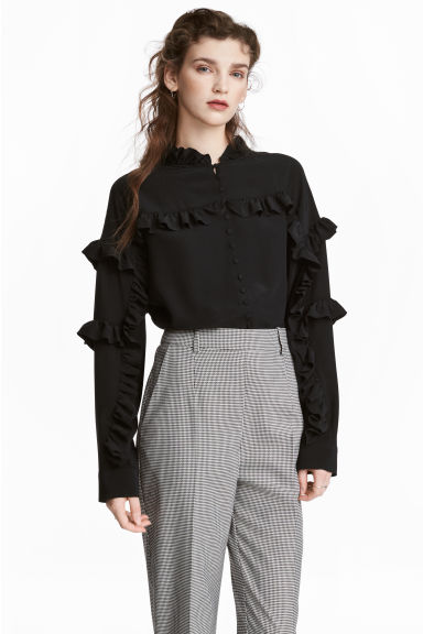 Silk frilled blouse - Black - Ladies | H&M 1