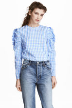 Frilled blouse - Light blue/Checked -  | H&M CN 1