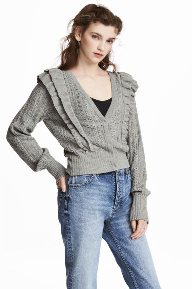 Frilled cardigan - Grey marl - Ladies | H&M CN 1