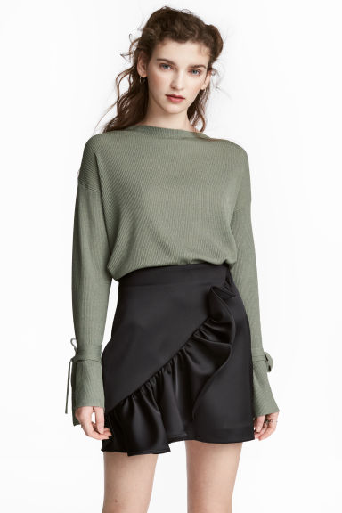 Ribbed jumper - Khaki green -  | H&M