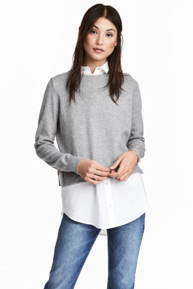 Jumper with a shirt collar - Grey marl/White - Ladies | H&M CN 1