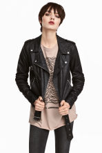 Biker jacket - Black/Textured - Ladies | H&M GB 1