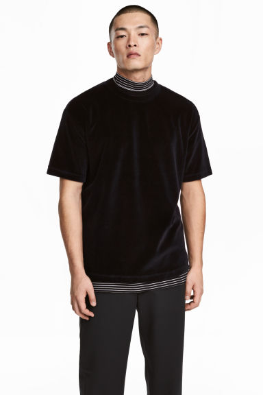 T-shirt in velour - Nero - UOMO | H&M IT 1