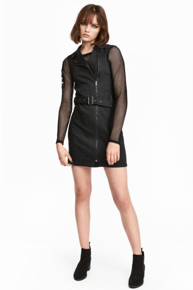 Twill biker dress - Black - Ladies | H&M 1