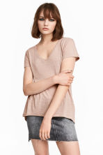 V-neck jersey top - 粉米色 - Ladies | H&M CN 1