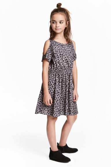 Cold shoulder dress - Grey/Leopard print -  | H&M 1