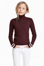 Ribbed polo-neck jumper - Burgundy -  | H&M 1