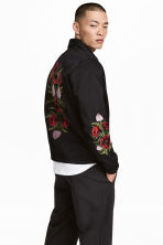 Embroidered shirt jacket - Black/Floral - Men | H&M CN 1