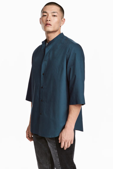 Collarless cotton shirt - Dark blue - Men | H&M 1