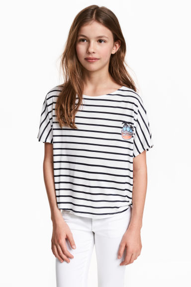 寬鬆上衣 - White/Dark blue/Striped - Kids | H&M 1