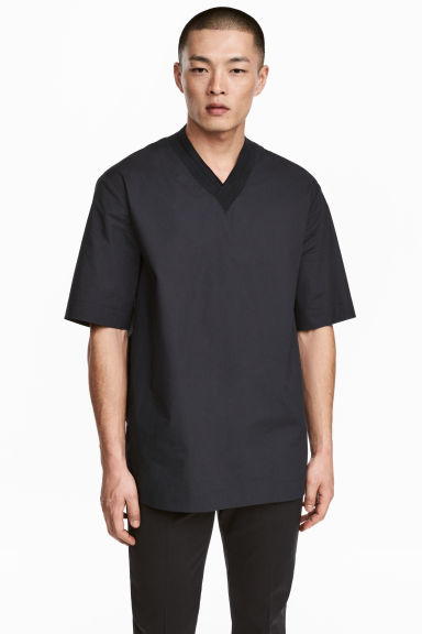 Cotton-weave T-shirt - Black - Men | H&M 1
