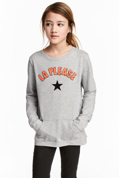 Sweatshirt with appliqués - Grey marl -  | H&M CN 1
