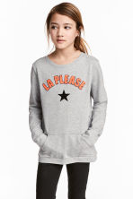 Sweatshirt with appliqués - Grey marl -  | H&M 1