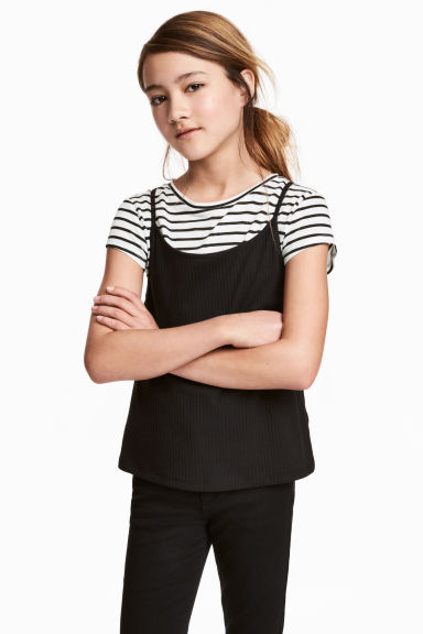 2-in-1 top - Zwart/wit - KINDEREN | H&M BE 1