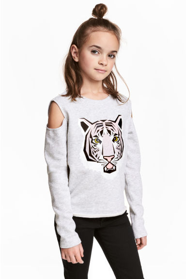 Cold shoulder sweatshirt - Light grey/Tiger - Kids | H&M 1